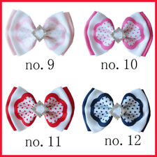 "20 BLESSING Happy Girl 4/"" Double Hair Bow Clip Princess New Ribbon Wholesale"