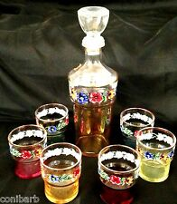 VINTAGE DECANTER SET 7 PIECE JAY ITALY FLOWERS COLORED HAND PAINTED CHRISTMAS