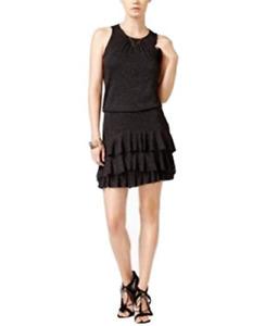 chelsea sky Tiered Ruffle Dress in Black, Size Medium, Retail $88.00