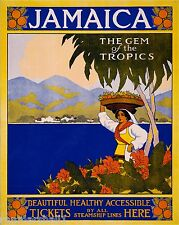 Jamaica - The Gem of the Tropics Vintage Travel Art Poster Advertisement