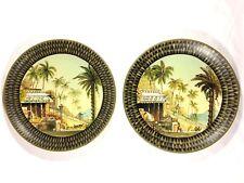 "Lot of (2) Raymond Waites Decorative Plates Palm Tree/Oasis Design Stoneware 10"""