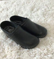 TROENTORPS Mens Black Leather  Chef Clogs . Size 9 /42, Made In Sweden .