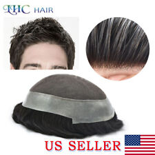 Mens Toupee French Lace Clear Poly Remy Hair System Transparent Replacement