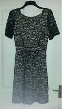 Próxima Encaje/Desnudo vestido de manga corta con espalda de Vieira-tamaño 12