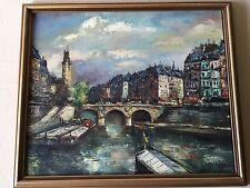 """St. Michel Bridge"" Original Oil Painting On Board, Signed By Artist Denis"