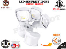 37.5 WT White 3-Head Motion Sensor Activated ETL DLC LED Outdoor Security Light
