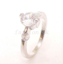 Women New White Gold Plated Simulated Diamond Engagement Wedding Ring Size 6 L