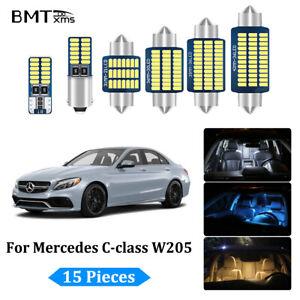 15x White LED Interior Light Package Kit for Mercedes Benz W205 2015-2021