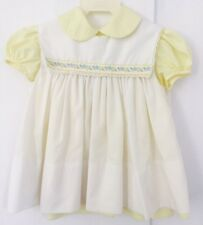 Vintage Baby Girl Dress CI Castro & CO 3 M Hand Embroidered Yellow White GUC
