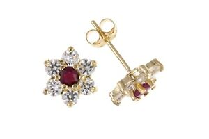 Real Ruby Stud Earrings Yellow Gold Solid 9 Carat Stud Cluster