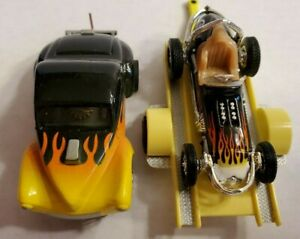 FLAMED WILLYS COUPE, SPRINT ON TRAILER, HO Slot Car, AW CHASSIS, WHITE WALLLS