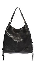 Johnny Was Paola Mixed Media Hippie Hobo Tote Bag $345 Made In Italy Black
