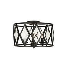 Home Decorators Collection 16 in. 3-Light Bronze Prismatic Glass Flush Mount