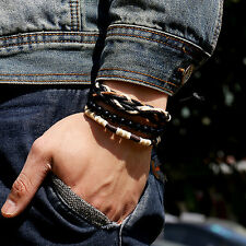 Men's 3Pcs Punk Style Bracelet Wood Beads Knitted Leather Wax Rope Cuff Stunning