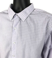 ALFANI Fitted Shirt Mens Size XL 17.5 34/35 Purple Checked Long Sleeve Button Up