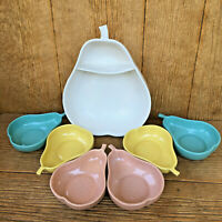 Pfaltzgraff Pottery Pear Bowl Set Pastel Pink Aqua Yellow Cream Mid-Century Vntg