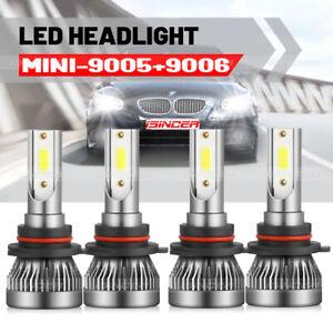 4 Bulbs Kit 9005 9006 LED 498000LM Combo Headlight High Low Beam Light 6000K
