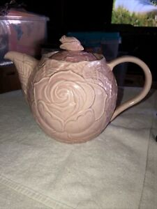 """Block Subtil Pink Rose Large Teapot Majolica Portugal 8"""" RARE (LR)"""