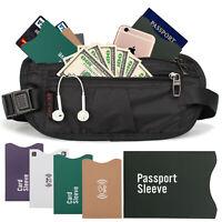 Money Belt Travel Bag Secure Waist Zip Pouch RFID Blocking Card Passport Sleeves