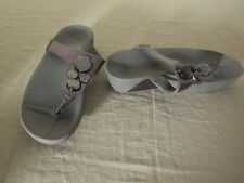 FitFlop Lunetta Gray Leather Comfort Sandals 181-054 Ladies Size 6