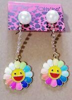 Betsey Johnson Pearl Rainbow Enamel Cute Sun Flower Crystal Women Stand Earrings