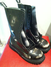 DEMONIA BOOTS Rocky 14 Eyelet Black/White Leather Mens 9 NEW MERCHANDISE