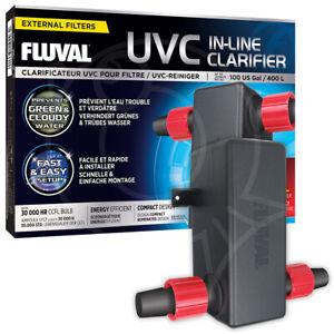 Fluval In-Line UV Clarifier Clear Water Greenwater Aquarium Fish Tank Uvc
