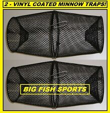 TWO VINYL COATED METAL Minnow Traps NEW! 2 TRAPS! CATCH YOUR OWN BAIT! FREE SHIP