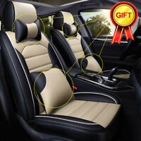 Deluxe Beige 5-Seats PU Leather Car Seat Covers Front&Rear SUV Cushion Universal