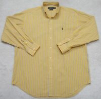 Ralph Lauren Blake Yellow White Blue Dress Shirt Striped Men's Large Cotton Man