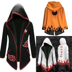 Anime Naruto0 Akatsuki Yondaime Hokage Cloak Jacket Fleece Cardigan Hoodie Coat