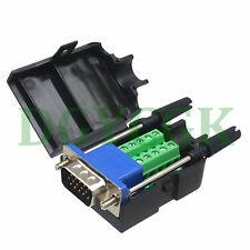 DB15 15 Pin D-SUB VGA male Terminal Breakout Plastic cover screw 3+6 BLACK
