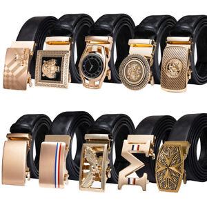 HT Mens Designer Genuine Leather Belts Automatic Metal Gold Belt Buckle Animals