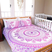 Indian Multi Pink Queen Size Duvet Cover Bedding Mandala With Two Pillow Case