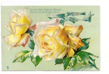 Yellow Roses, Antique Embossed Tuck's Greetings Postcard, Art Series #6881