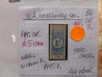 OLD WEST AUSTRALIA INTERNAL REVENUE STAMP B.F.T. 43 5/- F.U.