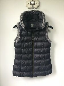 Gorgeous Ladies Sweaty Betty Black Duck Down Feather Gilet/Bodywarmer With Faux