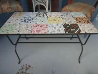 Vintage Tile top Wrought Iron coffee table hand-made - 1960's