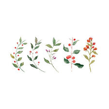 Waterproof Temporary Fake Tattoo Stickers Watercolor Red Flowers Green Leaf