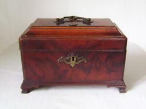 Georgian Mahogany Tea Caddy Box with Brass Fittings & Ogee Feet