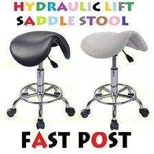 SADDLE Stool Hydraulic GAS Lift Bar Chair Salon Massage Spa Nail Black White