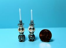 Dollhouse Miniature Halloween Skeleton with Top Hat Candlestick Holders & Candle