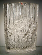 "TAPIO WIRKKALA IITTALA 9"" PINUS ART GLASS VASE SIGNED TW T W MADE IN FINLAND"