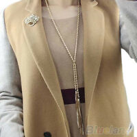 HK- CO_ Women's Gold Pleated Tassel Pendant Long Chain Sweater Necklace Charms J