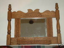 Victorian pressed oak wall mount match holder W/ mirror
