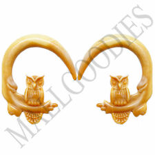 0688 Spiral Owl Taper Expander Stretcher Plugs Hoops 00G 10mm Brown Beige Blonde