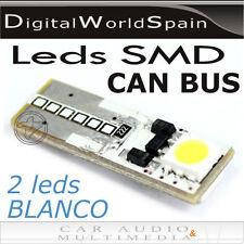 2 BOMBILLAS LED T10 2 LEDS LUZ BLANCA PARA POSICION E INTERIOR DE COCHE CAN BUS