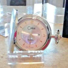COLIBRI silver POCKET WATCH WHITE/gold  FACE WITH date new old stock