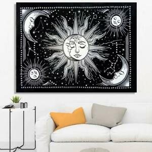 New 60*54 Sun Star Tapestry Indian Black & White Wall Hanging Home Decor Hippie