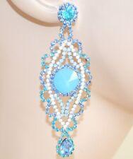 BOUCLES d'oreille ciel bleu femme strass cristaux pendantes longs cérémonie Z9